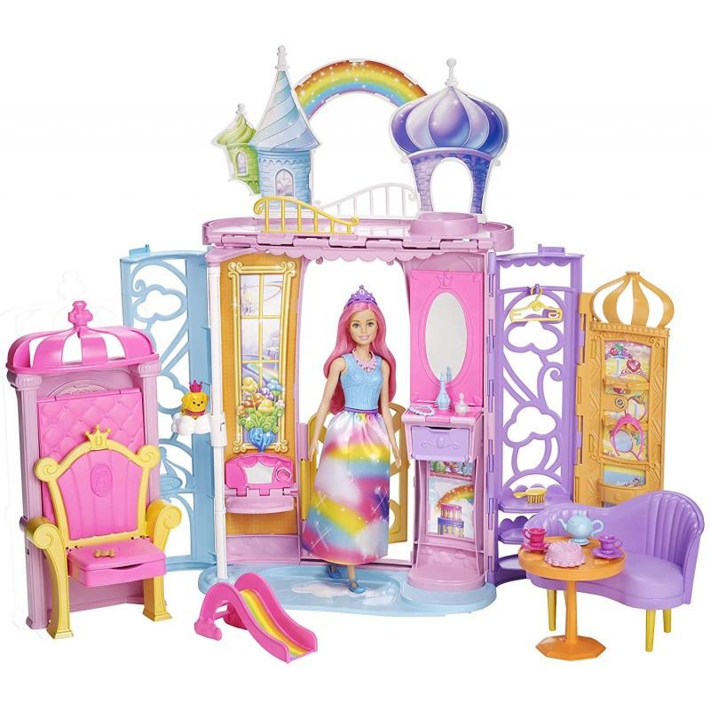 Letto A Castello Barbie.Barbie Castello Della Baia Dell Arcobaleno Bambola E 10 Accessori