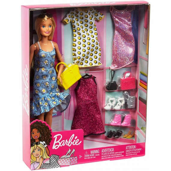 Barbie Bambola con 4 Outfit...